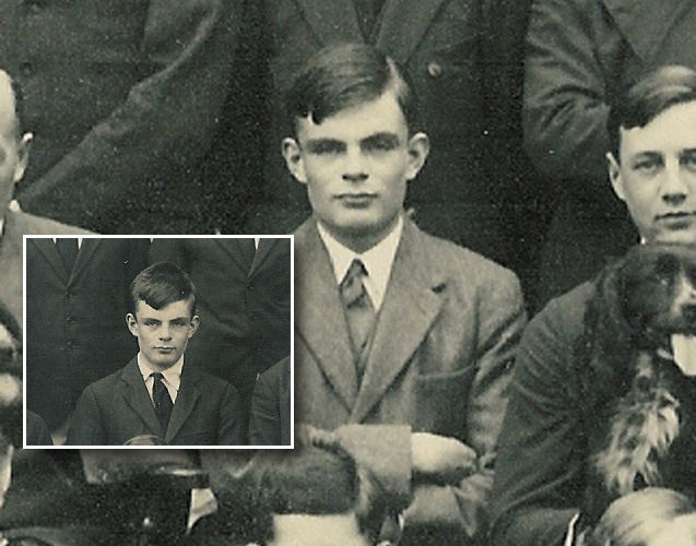 Turing in a photo from his days at the Sherborne School.